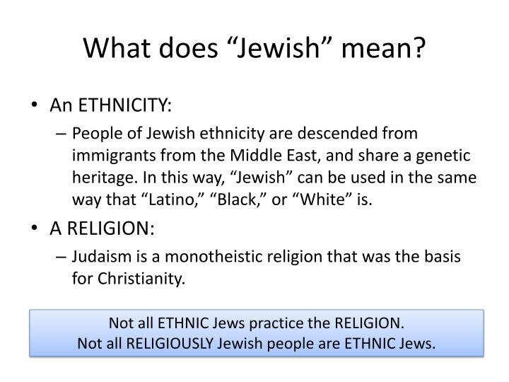 "What does ""Jewish"" mean?"