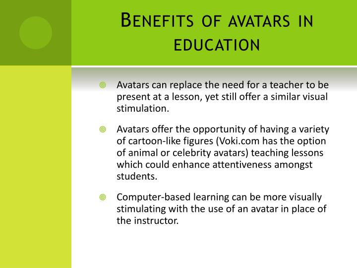 Benefits of avatars in education