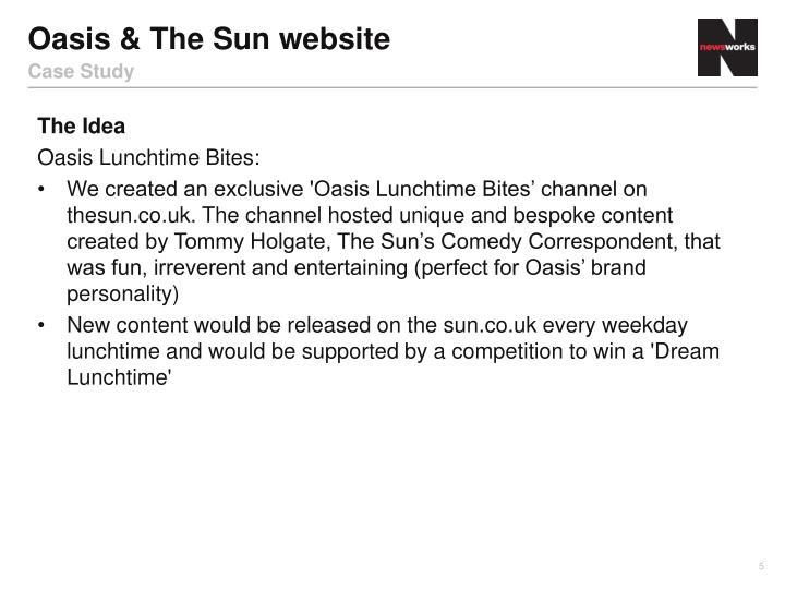 Oasis & The Sun website