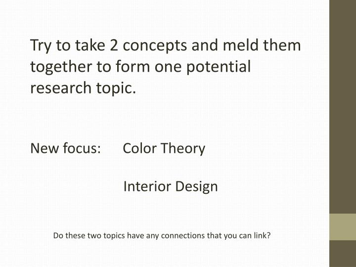 Try to take 2 concepts and meld them together to form one potential research topic.