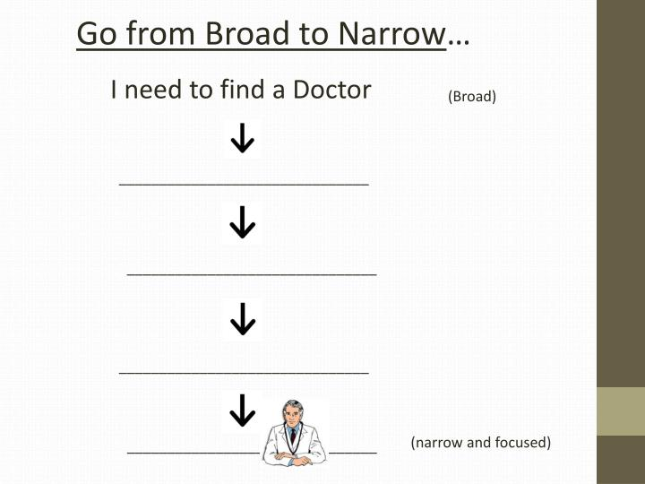 Go from Broad to Narrow