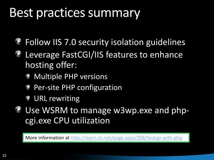 Best practices summary