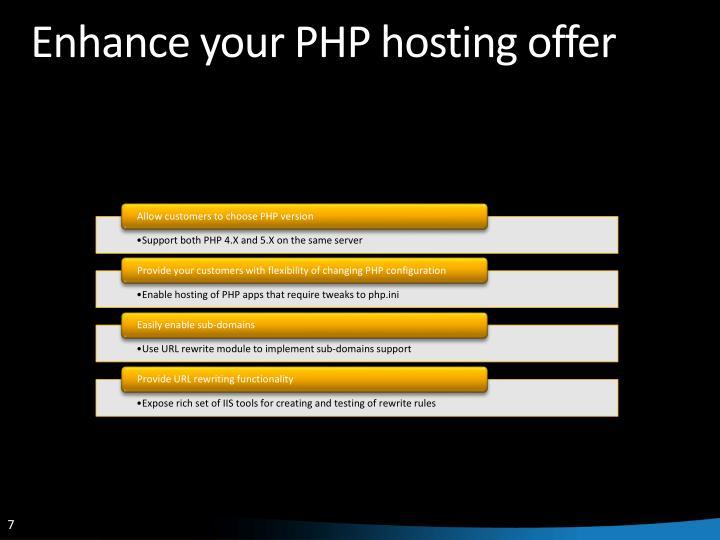 Enhance your PHP hosting offer