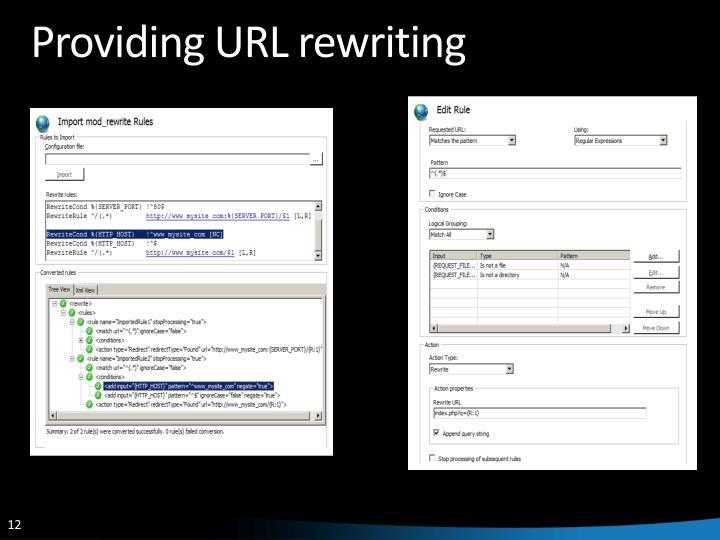 Providing URL rewriting