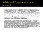 safety and preparations for a blizzard