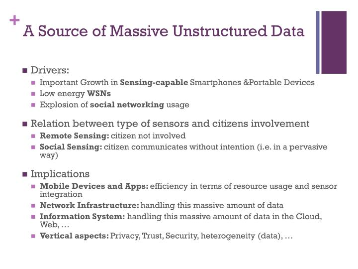 A Source of Massive Unstructured Data