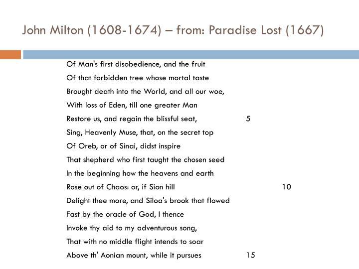 John Milton (1608-1674) – from: Paradise Lost (1667)
