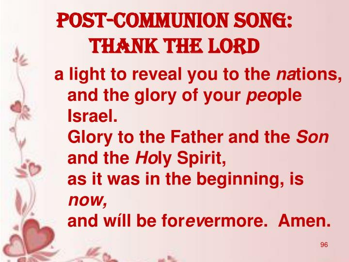 POST-COMMUNION SONG: