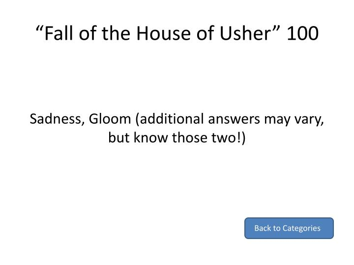 """Fall of the House of Usher"" 100"
