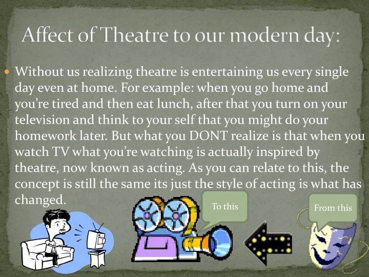 Affect of Theatre to our modern day: