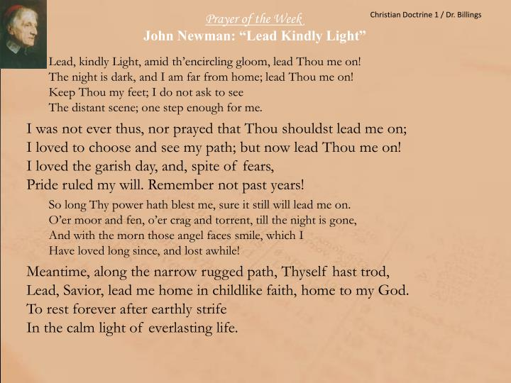 Prayer of the week john newman lead kindly light