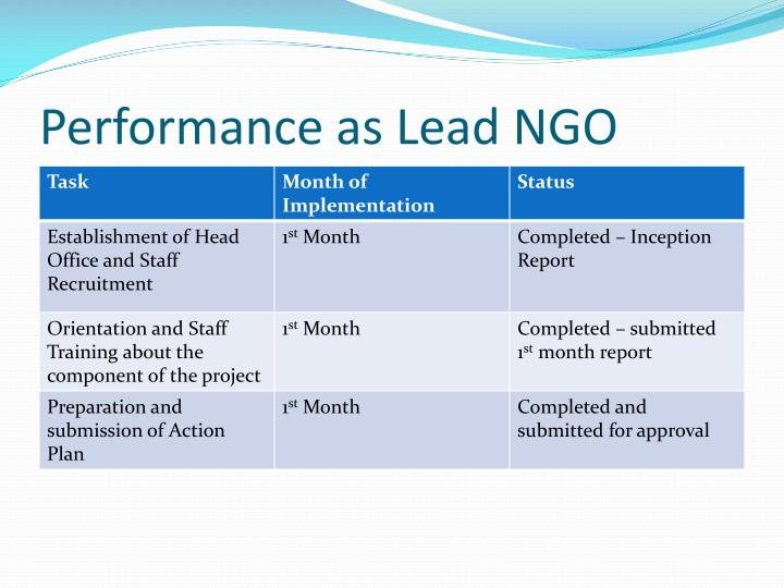 Performance as Lead NGO