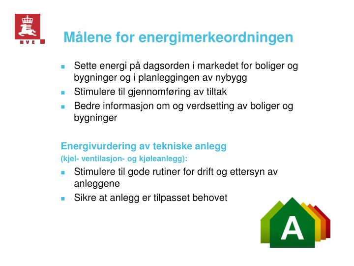 Målene for energimerkeordningen