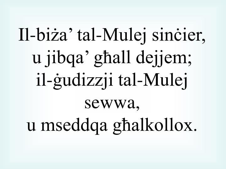 Il-biża' tal-Mulej sinċier,