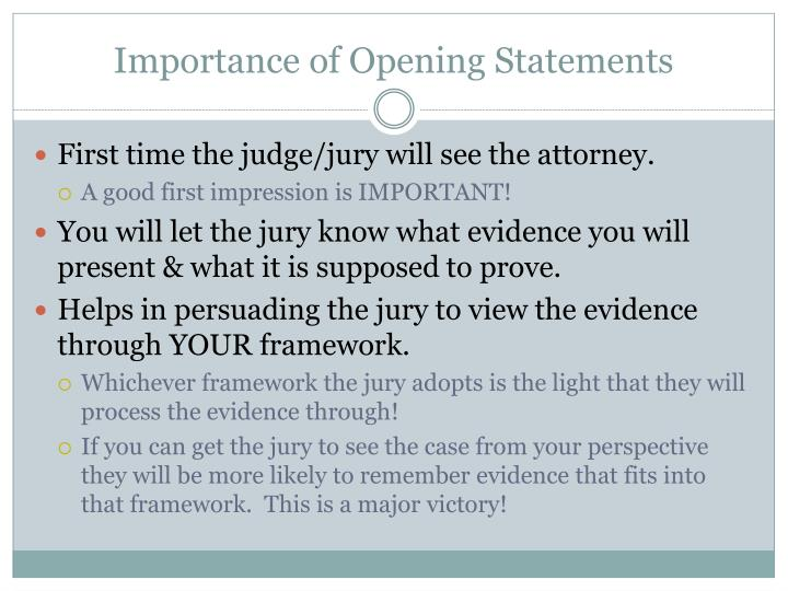 Importance of opening statements