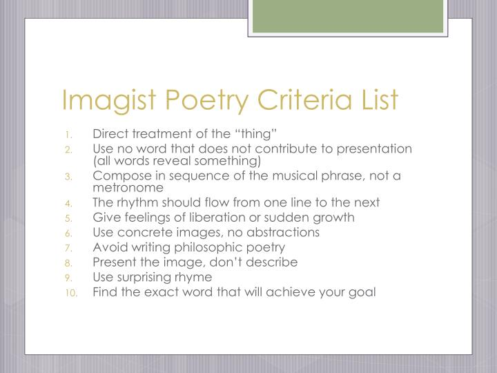 Imagist Poetry Criteria List