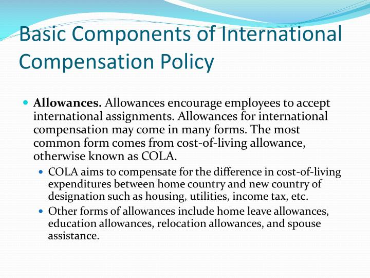 Basic Components of International Compensation Policy
