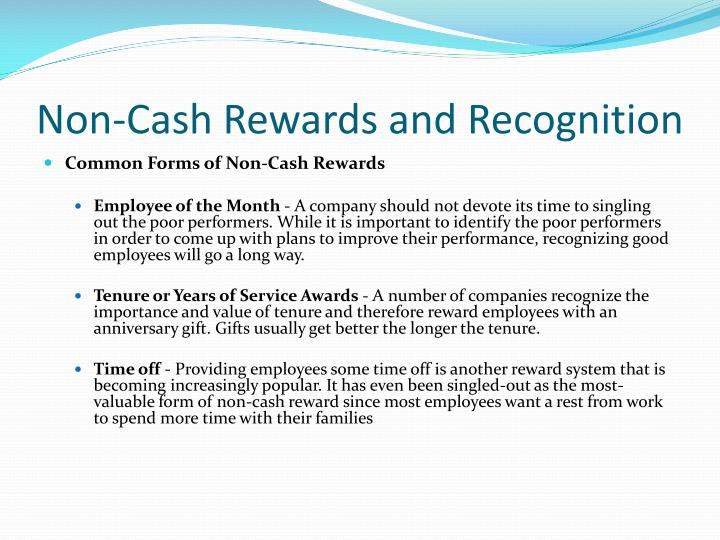 Non-Cash Rewards and Recognition