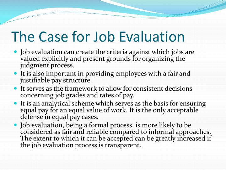 The Case for Job Evaluation