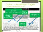 claim 1 assessment targets content specifications p 30