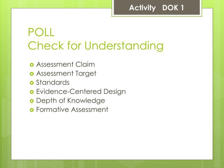 Activity   DOK 1