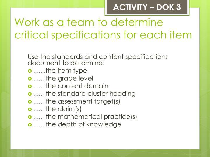 ACTIVITY – DOK 3