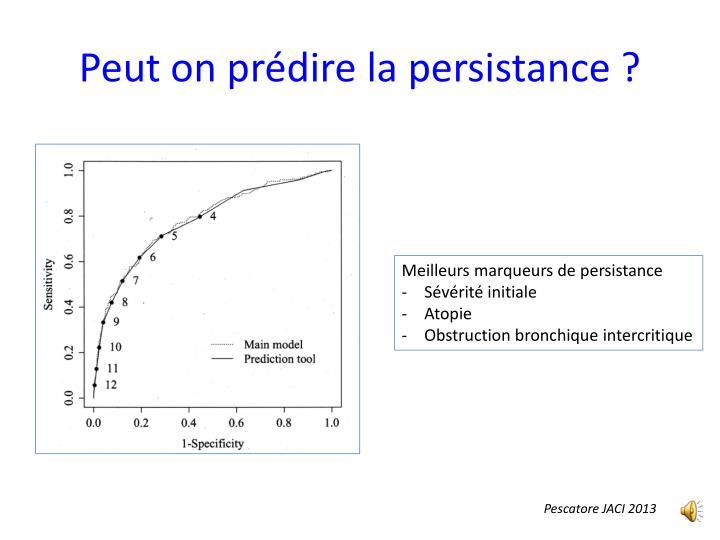 Peut on prédire la persistance ?