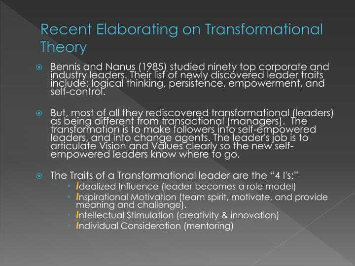 Recent Elaborating on Transformational Theory