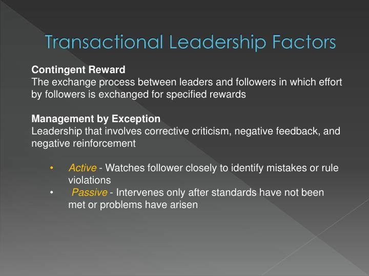 Transactional Leadership Factors