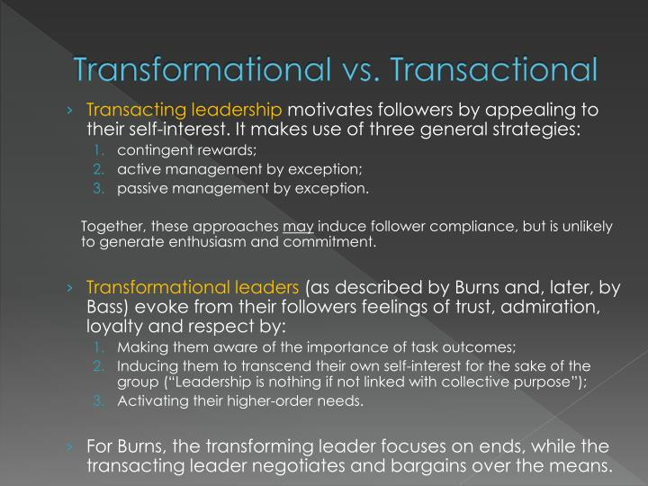 Transformational vs. Transactional