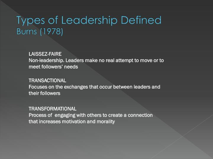 Types of Leadership Defined