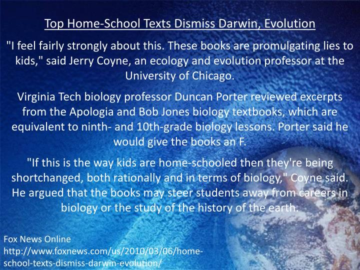 Top Home-School Texts Dismiss Darwin, Evolution