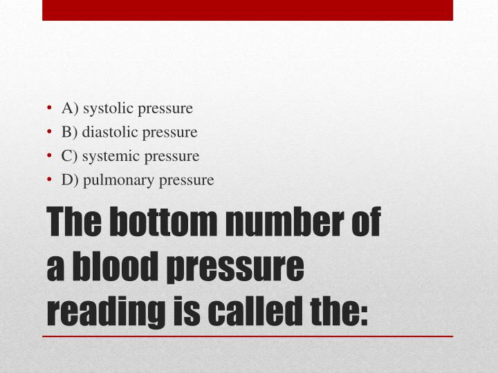 A) systolic pressure