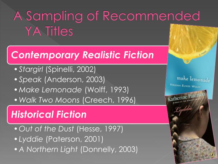 A Sampling of Recommended YA Titles
