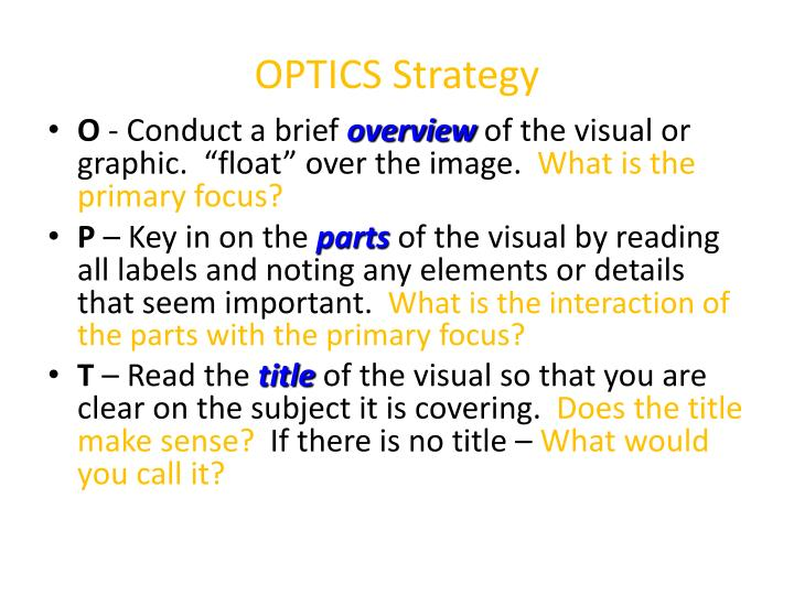 Optics strategy
