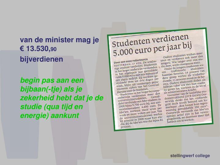 van de minister mag je € 13.530,