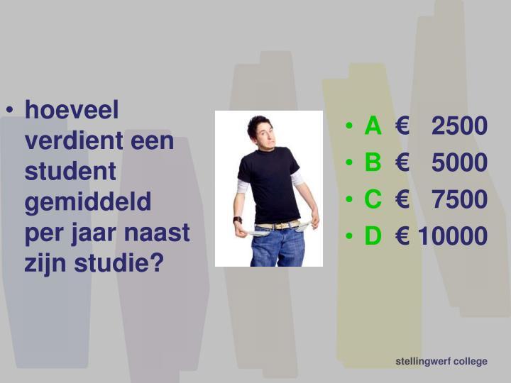 hoeveel verdient een  student gemiddeld     per jaar naast zijn studie?