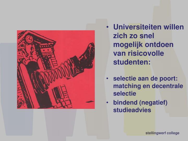 Universiteiten willen zich zo snel mogelijk ontdoen van risicovolle studenten: