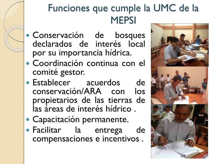 Funciones que cumple la UMC de la MEPSI