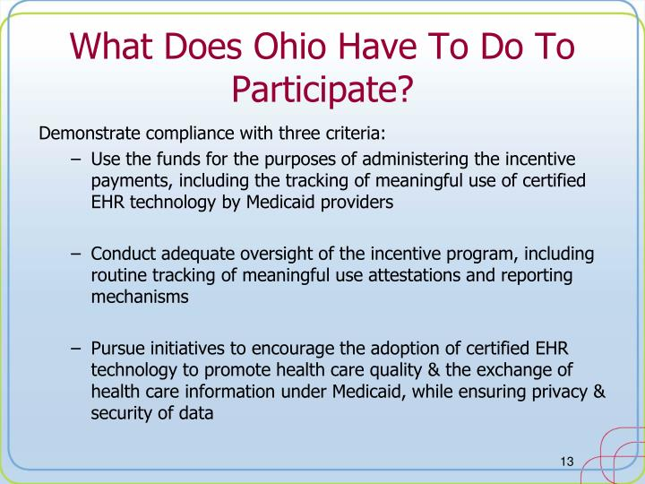 What Does Ohio Have To Do To Participate?