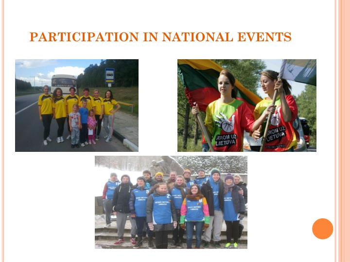 PARTICIPATION IN NATIONAL EVENTS