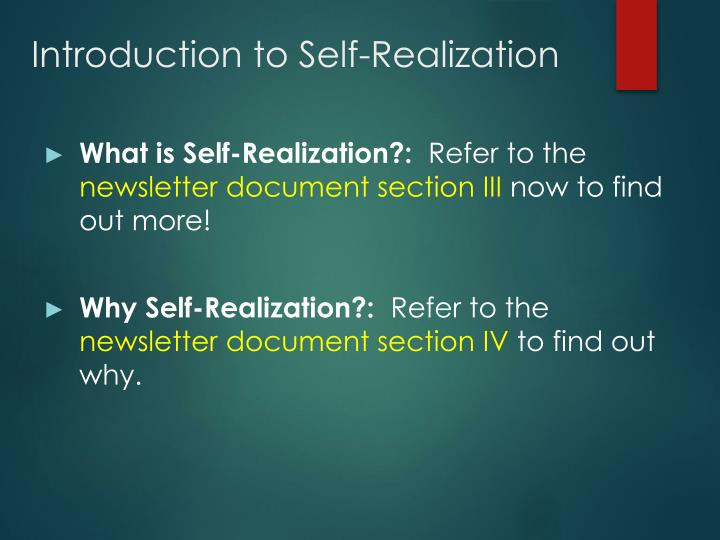 Introduction to Self-Realization