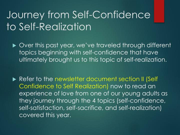 Journey from Self-Confidence to Self-Realization