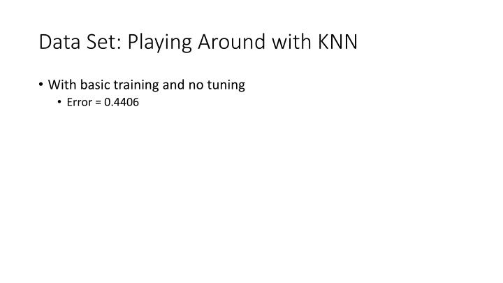 Data Set: Playing Around with KNN