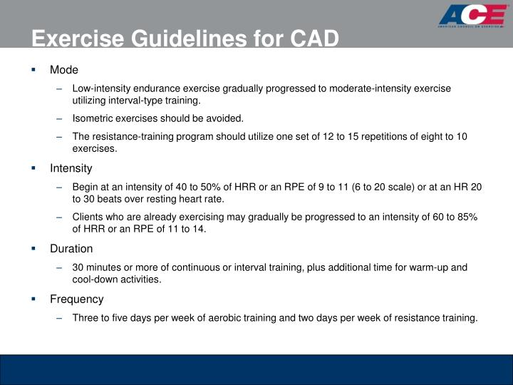 Exercise Guidelines for CAD
