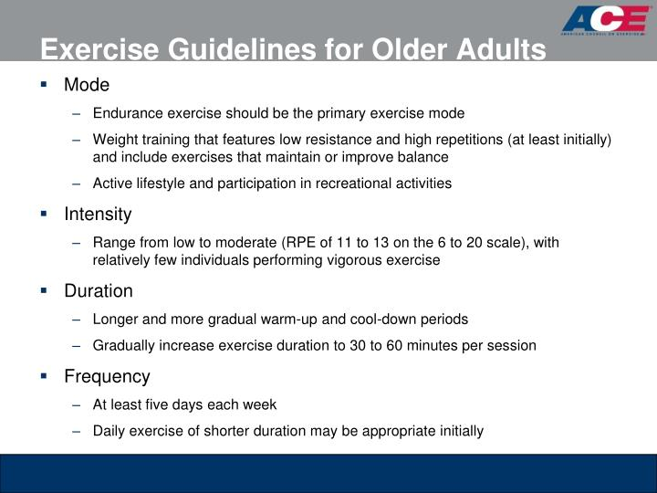 Exercise Guidelines for Older Adults