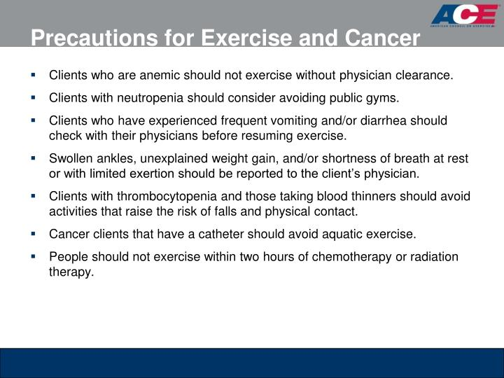 Precautions for Exercise and Cancer