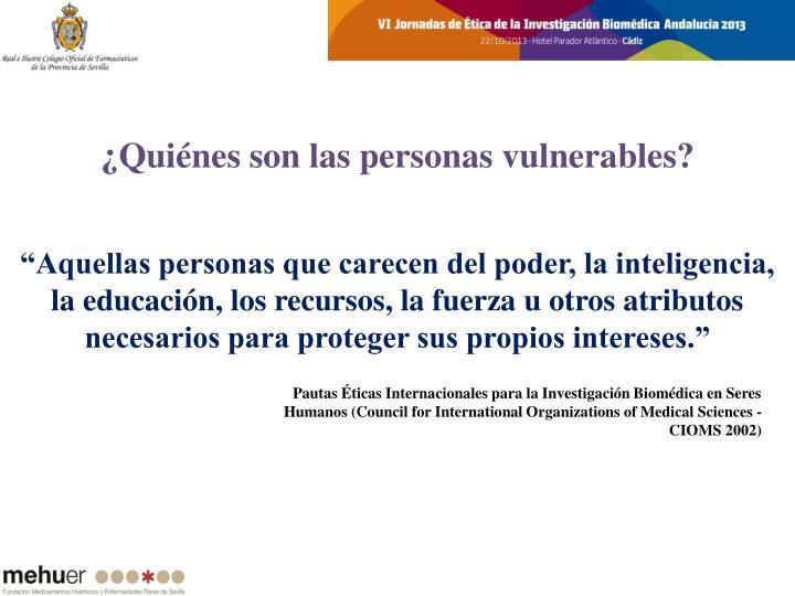 ¿Quiénes son las personas vulnerables?