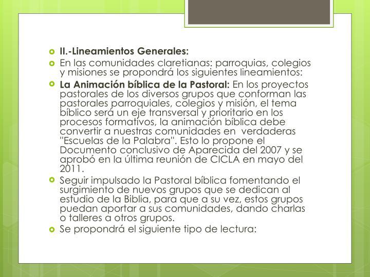 II.-Lineamientos Generales: