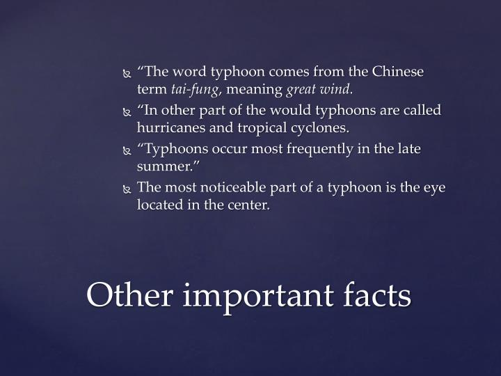 """The word typhoon comes from the Chinese term"